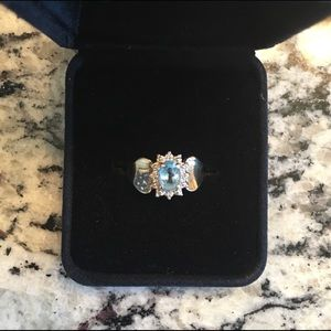 10k Gold Aqua Marine & Diamond Halo Ring